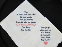 Embroidered Wedding Handkerchief for the Mother and Father of the Bride