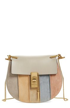 chloe 'Small Drew' Suede Stripe Crossbody Bag