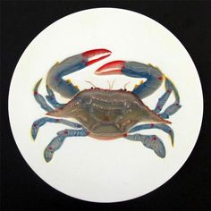 "7"" Porcelein Blue Crab Trivet Sealife Nautical Ocean Beach House Home Decor | eBay"