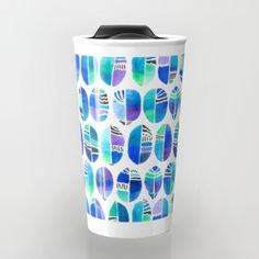 Oceanic Coffee Beans Pattern - oceaninspired #oceanart #coffeebeans #coffee #barista #blue #aqua #pattern #design #artsy #artist #art #bright #chic #abstract #travel #travelmug #coffeelovers