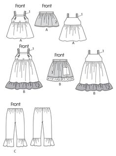 M6387 | Children's/Girls' Top, Jumpers, Detachable Aprons and Pants | Girls/Boys | McCall's Patterns