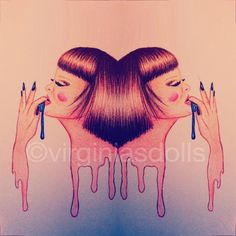 Playing with one of my drawings  #virginiasdolls #doll #drawing #painting #colors #watersolublepencils #coloredpencils #hairstyle #makeup #fashion #illustration #art #mirror #twins #nails #nailart