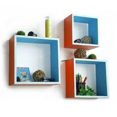 Trista - [Lively Beat] Square Leather Wall Shelf / Bookshelf / Floating Shelf (Set of 3) Trista Wall Shelf http://www.amazon.ca/dp/B00855DAEU/ref=cm_sw_r_pi_dp_VvP-vb0VGCWSB