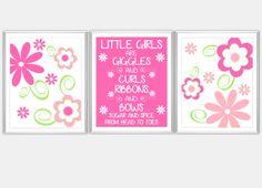 Hot Pink Green Little Girls Room Prints Baby Nursery Wall Art Flowers All About Girls Little Girls Room Decor Baby Girl Toddler 3 PRINT SET