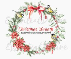 Christmas Wreath Watercolor Clipart Handpainted by EssentialDesire