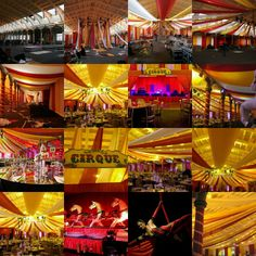 Circus theme transformation inside venue.