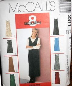McCall's 2311 Dress jumper sewing pattern two lengths Size D 12-16 (uncut)