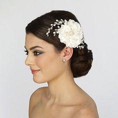 Bridal Flower Comb with Crystal Sprays