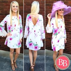 You'll look just {darling} at Derby in our NEW Dahlia Darling Dress & The Maddie Hat!! #bbgirls #kentucky #derby #oaks #dress www.brandisboutiqueshop.co