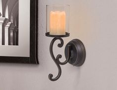 Candle Impressions Flameless LED Candle Wall Sconce - Rubbed Bronze Swirl Design