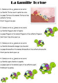 Nursery Rhyme The Turtle Family - French Poems, French Quotes, How To Speak French, Learn French, Montessori, Bottle Label, Christmas Songs Lyrics, Autism Education, Core French