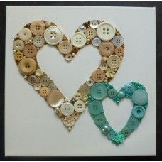 Button Art Entwined Hearts - Cream and Aqua Blue