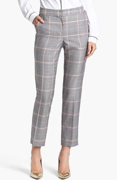 $495, Grey Plaid Dress Pants: St. John Collection Emma Glen Plaid Crop Pants. Sold by Nordstrom.