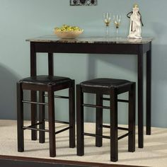 Pub Dining Set Counter Height Faux Marble Table Padded Stools Bar Breakfast Nook in Home & Garden, Furniture, Dining Sets Dining Room Sets, Kitchen Dining Sets, Counter Height Dining Sets, 3 Piece Dining Set, Dining Room Table, Wooden Kitchen, Kitchen Island, Small Dining, Bistro Kitchen