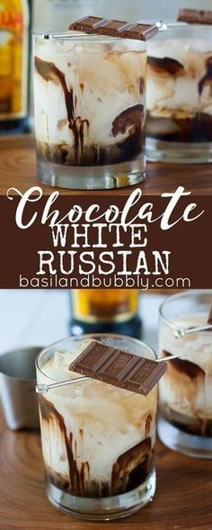White Russian A dessert cocktail recipe everyone will love: Chocolate White Russians. Made with Kahlua, Vodka, Cream, Chocolate Syrup, and garnished with a chocolate bar.A dessert cocktail recipe everyone will love: Chocolate White Russians. Cocktails Vodka, Beste Cocktails, Cocktail Desserts, Dessert Drinks, Party Drinks, Cocktail Drinks, Fun Drinks, Yummy Drinks, Yummy Food