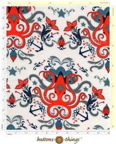 NAUTICAL OCTOPUS Cotton Flannel Fabric By the Yard in Crafts, Sewing & Fabric, Fabric | eBay