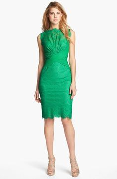 Tadashi Shoji Lace Sheath Dress available at // obsessed with the lines on this gorgeous cocktail dress! Criss cross wrap waist with pleated shell neck. Pretty Dresses, Beautiful Dresses, Emerald Dresses, Emerald Shoes, Lace Sheath Dress, Colored Wedding Dresses, Moda Fashion, Mode Style, Look Cool