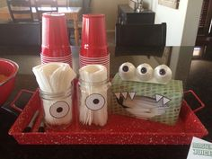monster napkin and utensil holder...too cute