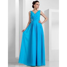 TS Couture Prom Formal Evening Military Ball Dress - Elegant Sheath / Column V-neck Floor-length Chiffon with Beading Draping Criss Cross – USD $ 69.99