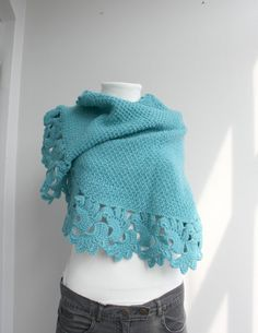 Turquoise Capelet Shawl Handmade Gift under75 door denizgunes