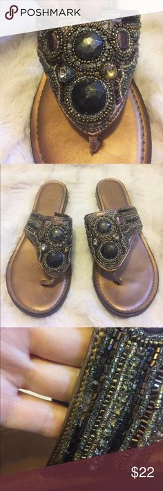 Chicos Bronze Embellished Sandals Gorgeous bronze embellished sandals! These are the cutest sandals to dress up any casual outfit. In excellent condition except for some beads missing as seen in photo. 🌟Open to reasonable offers!🌟 Chico's Shoes Sandals