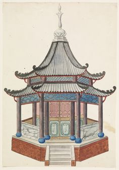 "Tombstone:  	Drawing, ""Design for a Chinese Pavilion"", 1815–22.  	Frederick Crace .	1815–22. 	Brush and watercolor, pen and ink on paperSmithsonian. Cooper-Hewitt, National Design Museum"