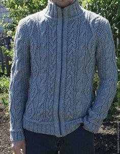 Купить Мужской кардиган с высоким воротом - серый, мужской свитер, мужской кардиган, шерстяной свитер
