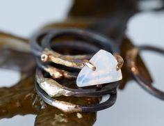 Large 14K Solid Gold and Sterling Silver Stack Ring