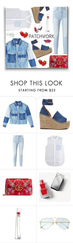 """Strawberry Patch"" by yummymummystyle ❤ liked on Polyvore featuring Rebecca Taylor, Chloé, Frame, 3.1 Phillip Lim, Gucci, Burberry, Kenzo, Cutler and Gross, Denimondenim and patchwork"