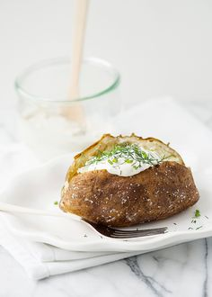 baked potatoes with herb sour cream