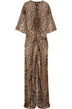 Roberto Cavallisilk leopard print gown
