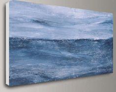 blauw grijs abstracte acryl kunst schilderij muur door baronvisi