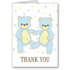 Teddy Bear Twins Thank You Notecard! Make your own foldedcards more personal to celebrate the arrival of a new baby. Just add your photos and words to this great design.