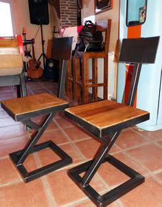 chaise industrielle sur mesure bois mètal design indus