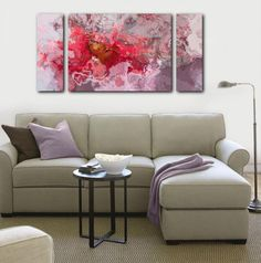 Large triptych art 30x60 canvas print abstract expressionism in red and pink Loves Recovery