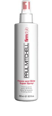 Freeze and Shine Super Spray®  Finishing Spray    Provides powerful hold and memory. Creates a shiny finish. Helps protect hair from sun damage.  Algae, aloe, jojoba, henna and rosemary   boost shine.  Firm-holding styling ingredients lock in your look.