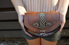 Leather Belt Pouch Mjolnir Thor's Hammer Ram by BeastmanCaravan