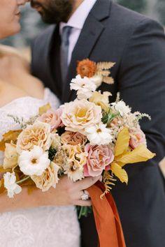 Bridal bouquet in a warm fall color palette. Photo: @stella.k.photography La Tavola Linen, Silk And Willow, Cabin Chic, Fall Color Palette, Warm Autumn, Park Weddings, Sweet Couple, Event Photography, Wedding Vendors