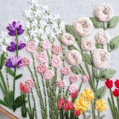 Patron para bordar a mano flores silvestres: por KnottyDickens