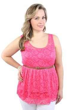 Deb Shops #coral plus size lace tank with ruffle tiers and belt