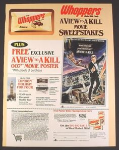 Magazine Ad for Whoppers Malted Milk Candy, James Bond A View To A Kill Poster Offer, 1985
