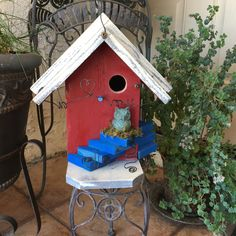 Red Birdhouse/Decorative Functional-Unique-Designer-Bird-House/Garden…