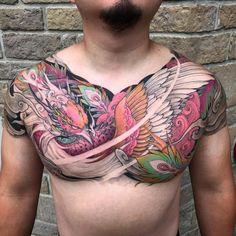 Phoenix full chest tattoo in progress @chronicink @tatsoul #envycartridges #wearproud #workproud