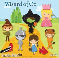 Wizard of Oz Clip Art Set INSTANT DOWNLOAD by corazondulce on Etsy, $6.50