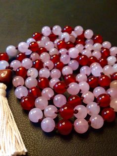 Items similar to Carnelian & Rose Quartz Mala on Etsy Heart Chakra, Carnelian, Rose Quartz, Roots, My Etsy Shop, Gemstones, Stars, Gems, Gem