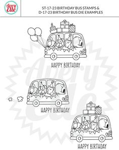 Avery Elle Birthday Bus stamps and dies