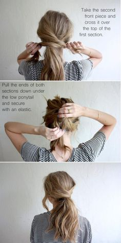 hair tutorial: messy crossover pony (truelane) I always like. Loubna Ait Hair hair tutorial: messy crossover pony (truelane) I always like the idea of wearing my hair up, but I hate feeling like w Medium Hair Styles, Curly Hair Styles, Updo Curly, Hair Medium, Hair Messy Updo, Medium Hair Ponytail, Long Hair Ponytail Styles, Bun Curls, Curly Bob
