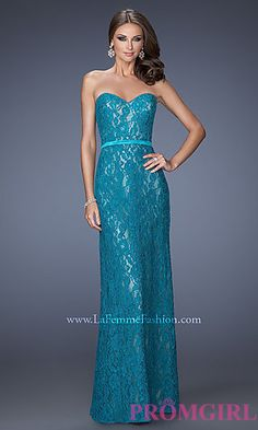 Strapless Sweetheart Floor Length Lace Dress at PromGirl.com