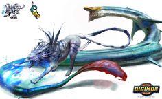 Digimon: Garurumon vs Seadramon by LindseyWArt on DeviantArt