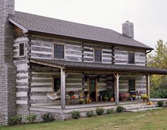 log cabin home ~ Country Living Magazine home country, Kitchen Tour Old Cabins, Cabins And Cottages, Cabins In The Woods, Log Cabin Living, Log Cabin Homes, Cabana, Porches, Colonial, Old Farm Houses